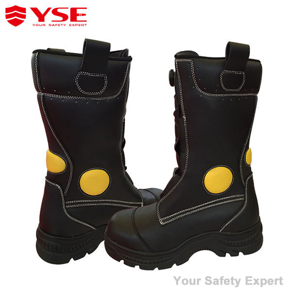 CE EN standard leather fireman boots